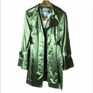 HILARY RADLEY SHIMMERY FLORAL TRENCH JACKET